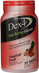 Dex4 Glucose Tablets, Tropical Fruit, 50 Count https://amzn.to/2UGdH9I